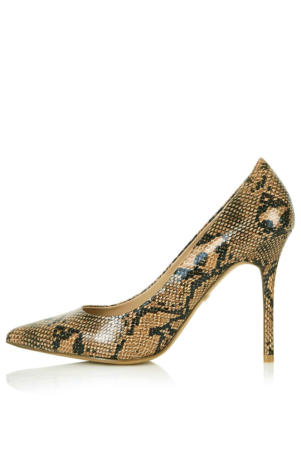 TopShop GEMINI2 Snake-Effect Court Shoes
