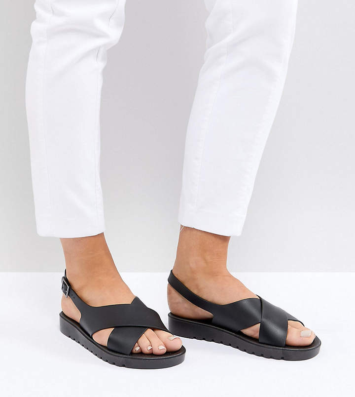 Asos Frequent Wide Fit Jelly Flat Sandals