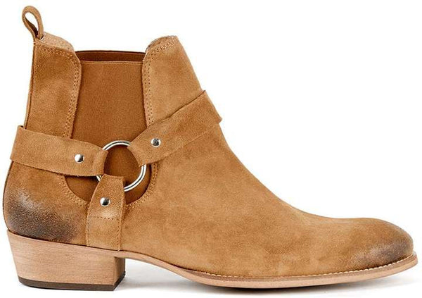 Topman Tan Suede Harness Boots
