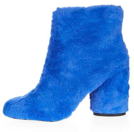 Topshop Hairy-harry fur ankle boots