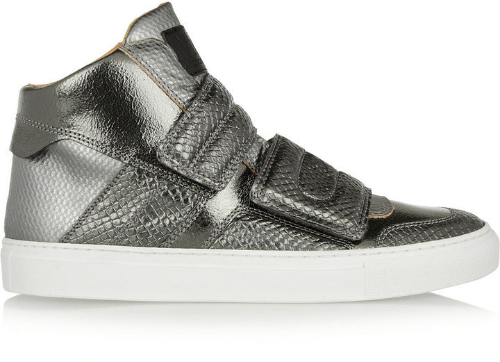 MM6 MAISON MARGIELA Metallic Lizard-Effect and Textured-Leather High-Top Sneakers