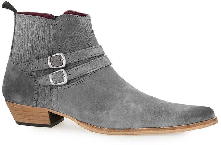 Topman Grey Suede Low Buckle Boots