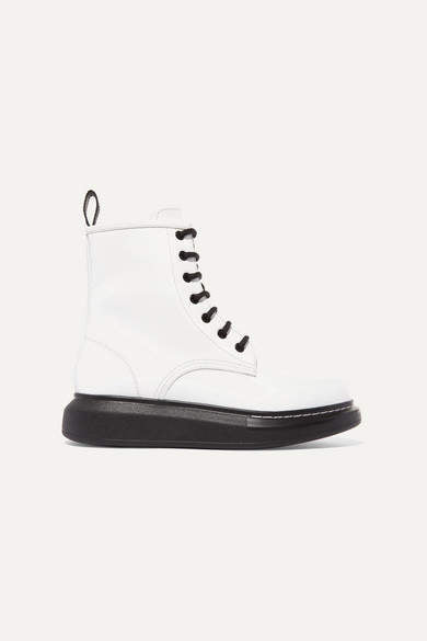Alexander McQueen Glossed-leather Exaggerated-sole Ankle Boots - White