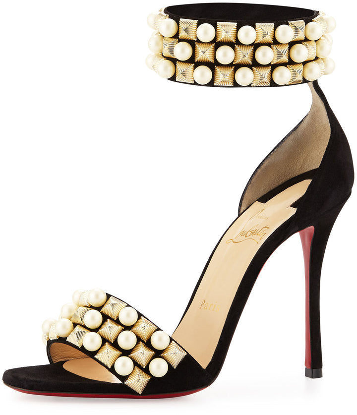Christian Louboutin Tudor Studded Red Sole d'Orsay Sandal, Black