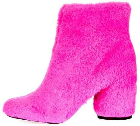 Topshop Hairy-harry faux fur ankle boots