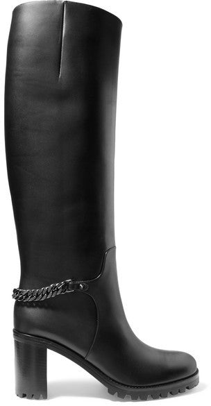 Christian Louboutin Napeleo 70 Chain-trimmed Leather Knee Boots - Black