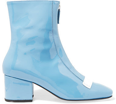 NET-A-PORTER.COM DORATEYMUR - Double Delta Patent-leather Ankle Boots - Light blue