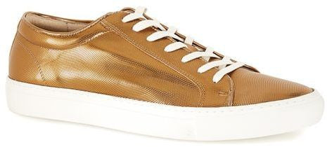 Topman Bronze Metallic Leather Printed Sneakers