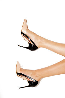 House of CB Catania black and peach cut out pointy toe pumps