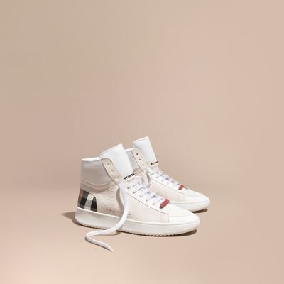 Burberry Check Detail Leather High-top Trainers