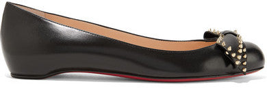 Christian Louboutin Ballalarina Bow-embellished Leather Flats - Black