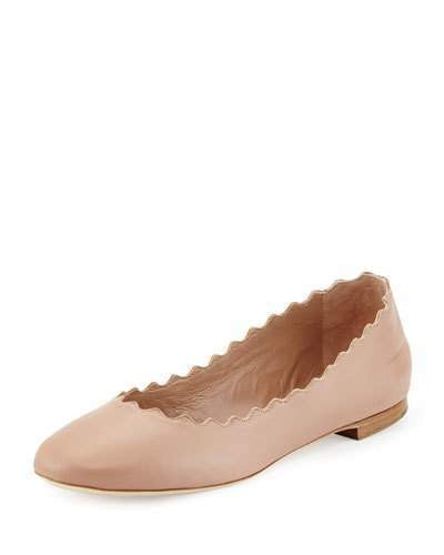 Chloé Lauren Scalloped Leather Ballerina Flat, Light Pink