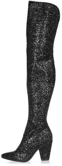 Topshop Banging sequin over the knee boots