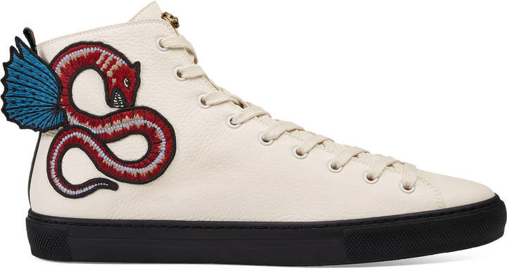 Gucci Leather high-top with winged dragon