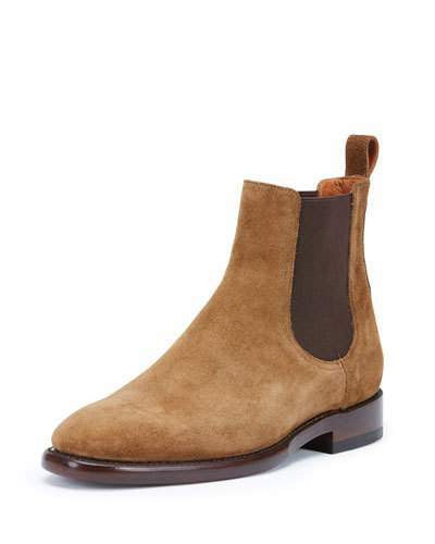 Frye Weston Suede Chelsea Boot, Chestnut
