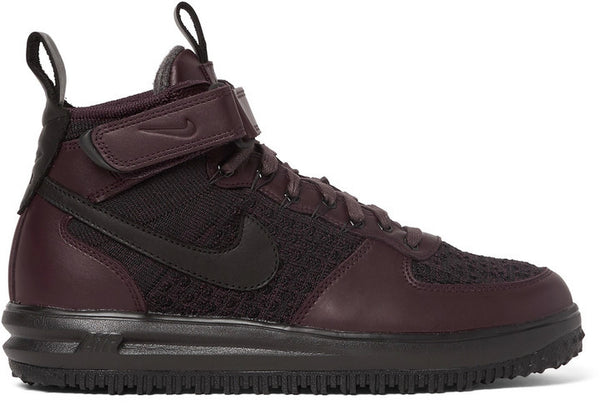 Nike Lunar Force 1 Workboot Leather and Flyknit High-Top Sneakers