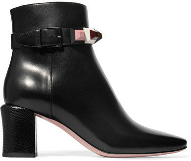 Fendi Embellished Leather Ankle Boots - Black