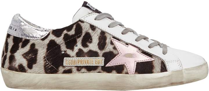 White/Pink Superstar Leopard Low-Top Sneakers