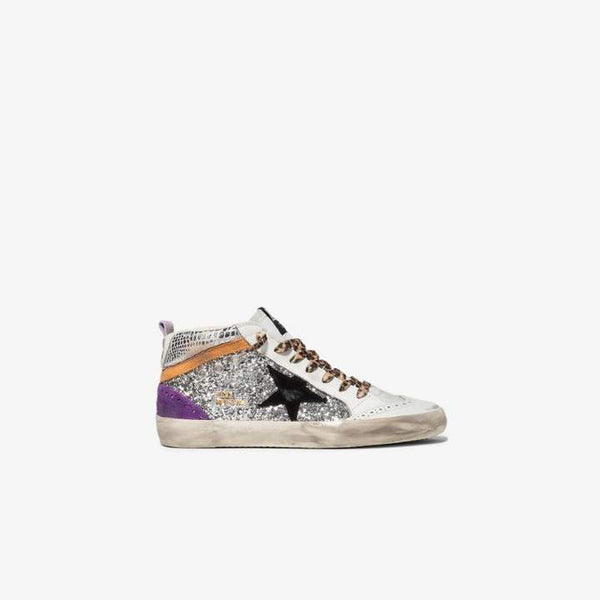 Golden Goose Womens White, Silver And Purple Mid Star Leather High Top Sneakers