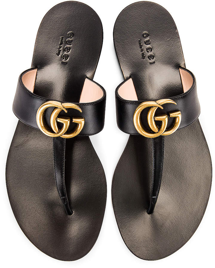 Double G Leather Thong Sandals in Black | FWRD
