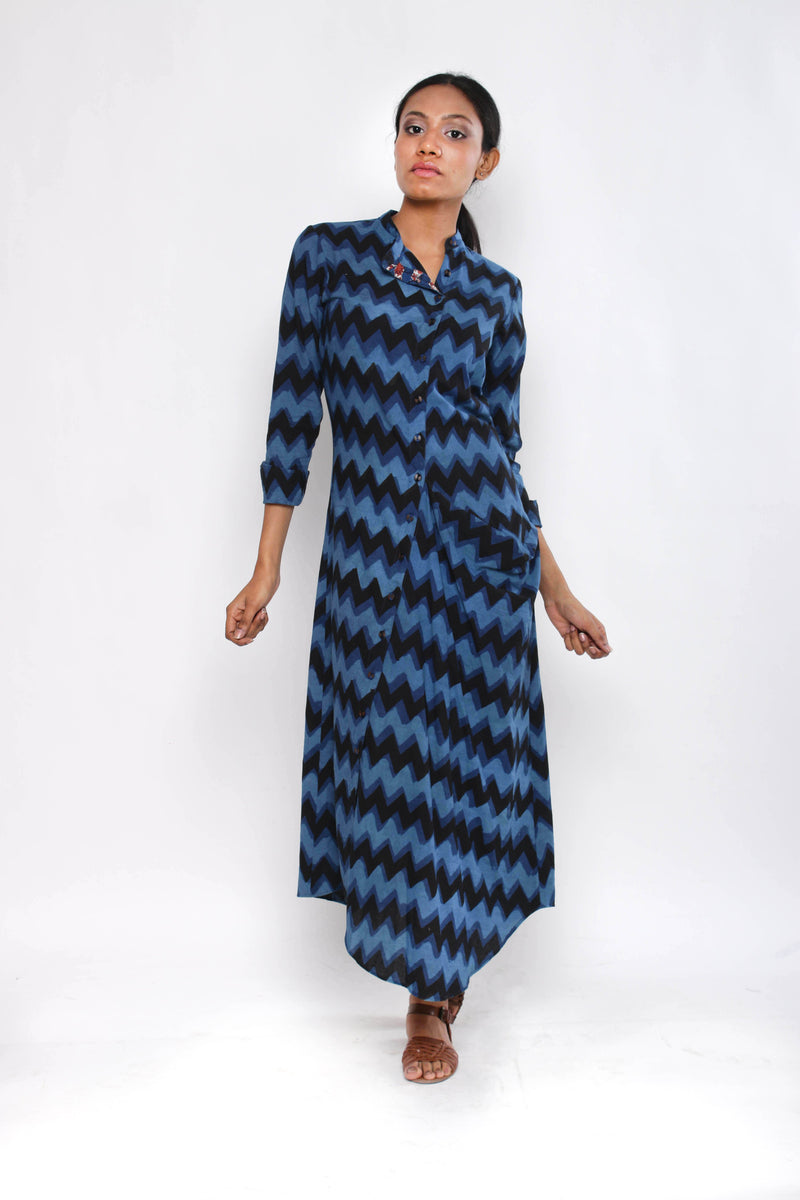 Indigo Cowl Shirtdress - shopraiman