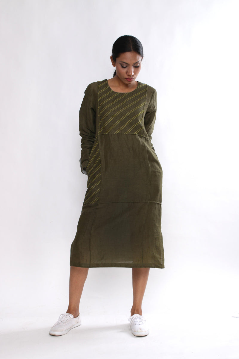 Olive Panel Tunic - shopraiman