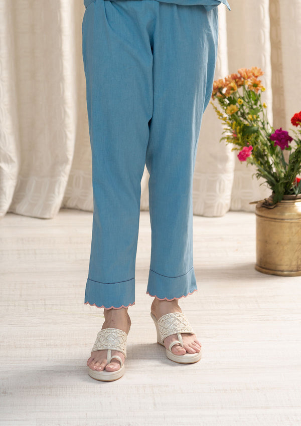 Blue Narrow Pants