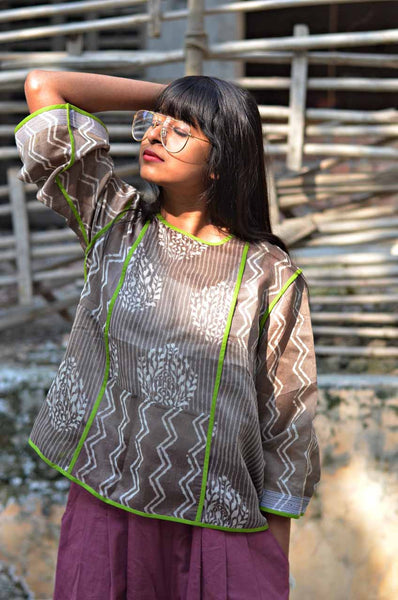 Grey Chanderi Top - shopraiman