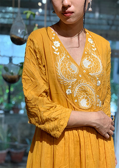 Mustard Anghrakhi Dress