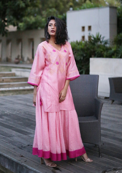 Rosy Chanderi Waterlily Kurta and Skirt