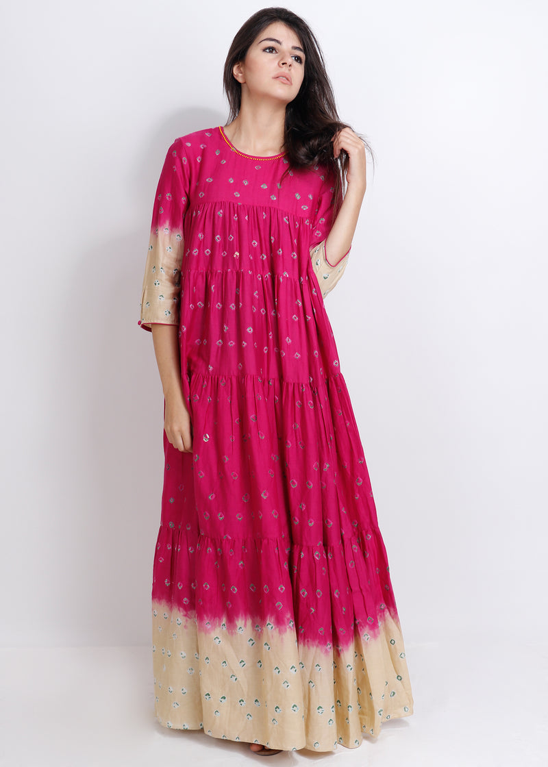 Fuchsia Bandhej Panel Dress - shopraiman