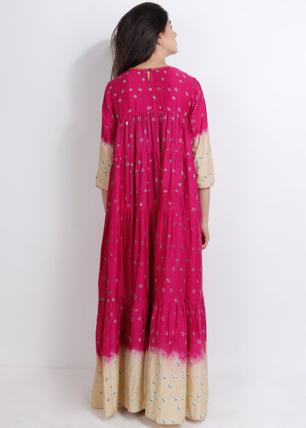 Fuchsia Bandhej Panel Dress