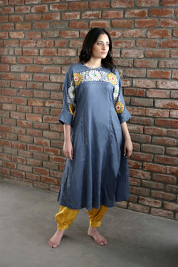Blue Waterlily Jasmine Kurta - shopraiman