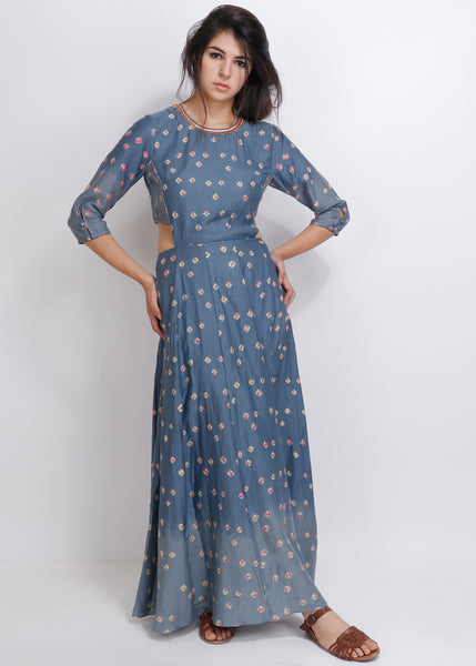 Grey Bandhej Dianella Dress - shopraiman