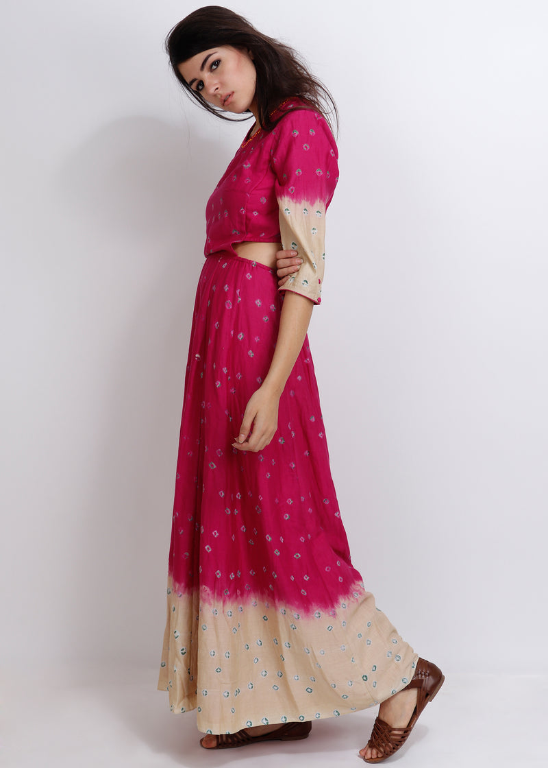 Fuchsia Bandhej Dianella Dress - shopraiman