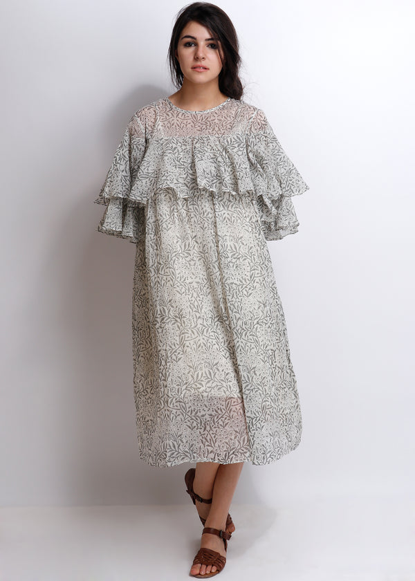 Grey Carnation Iris Dress - shopraiman