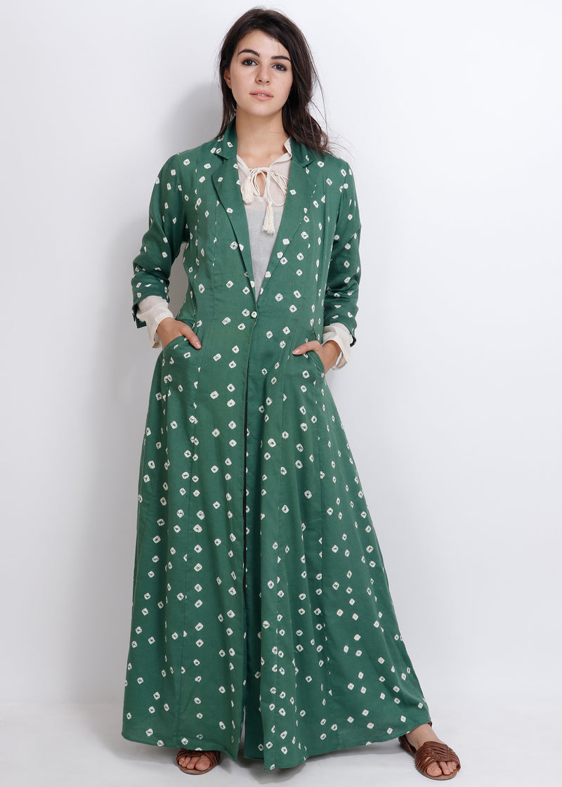 Green Bandhej Jacket - shopraiman