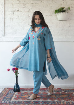 Blue Chanderi Dupatta