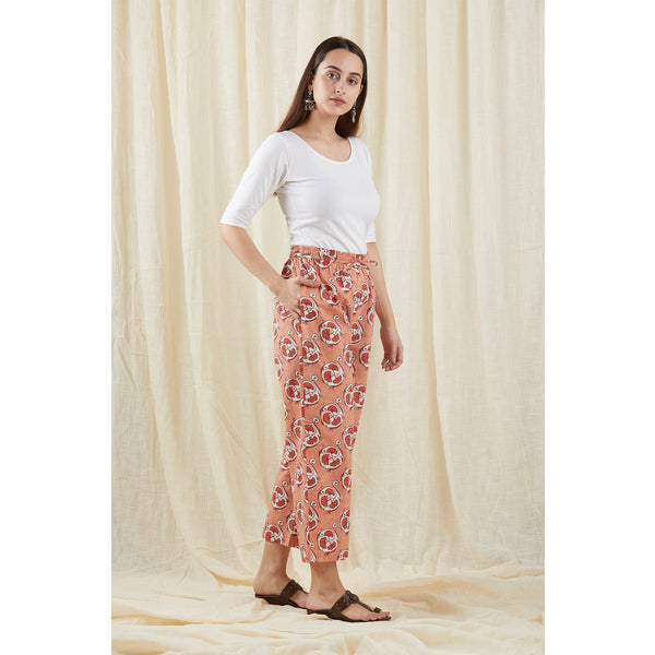 Peach Box Print Pants
