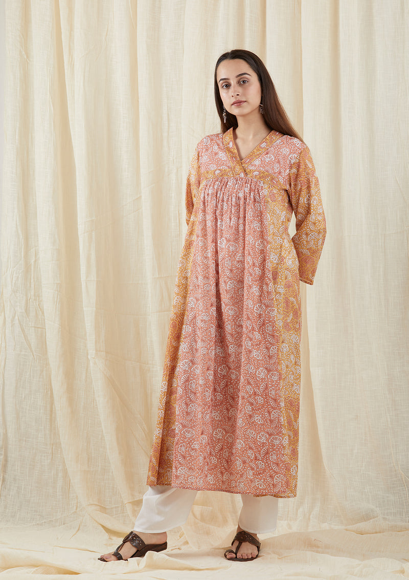 Peach Butterfly Yoke Tunic