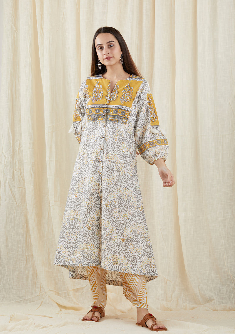 Mustard Grey Carnation Peasant Tunic