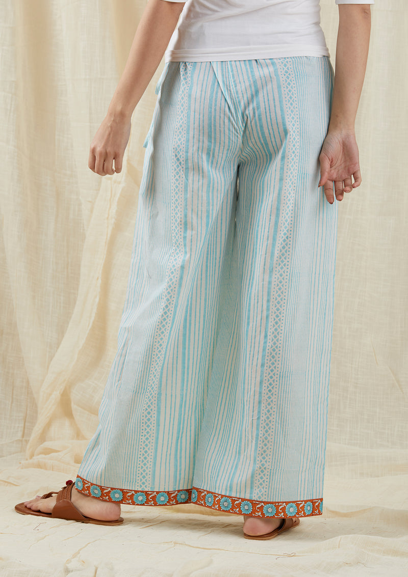 Pale Aqua Striped Box Pants