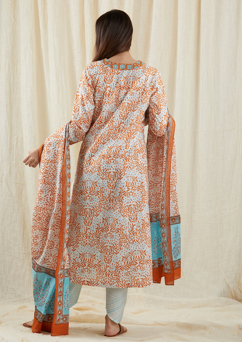 Pale Aqua-Orange Yoke Tunic