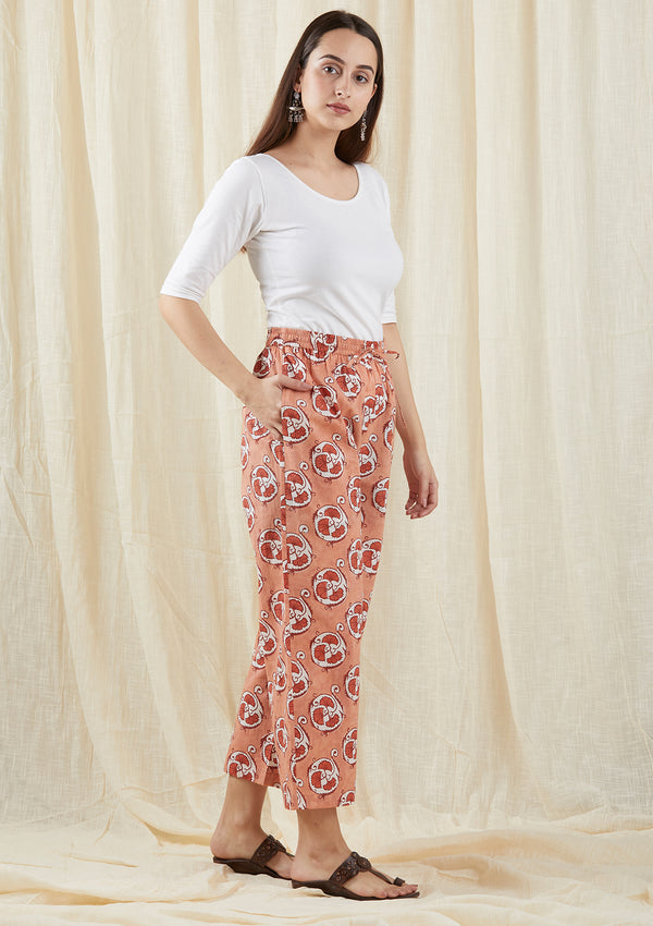 Peach Floral Straight Pants