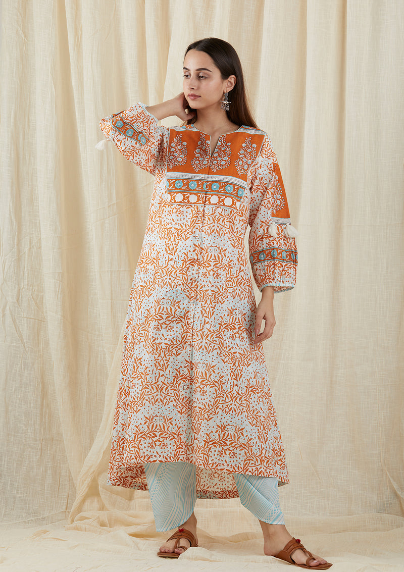 Pastel Aqua Orange Peasant Tunic