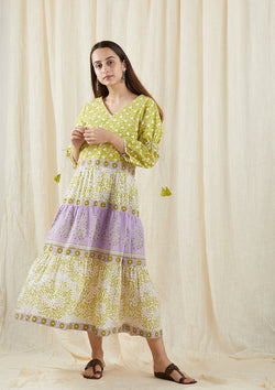 Green chinar Tier Dress