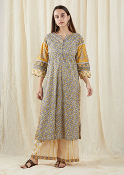 Grey Chinar Kalidar Tunic