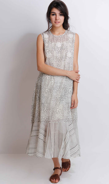 Grey Carnation Frill Dress - shopraiman