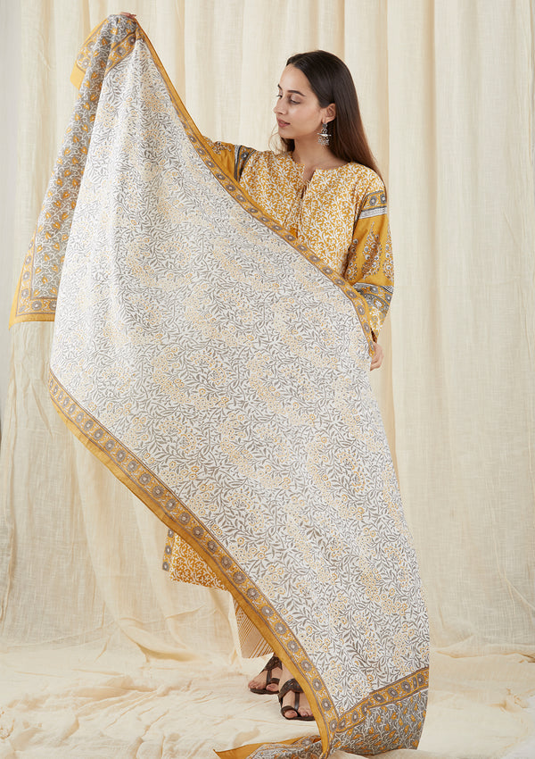 Grey Carnation Dupatta