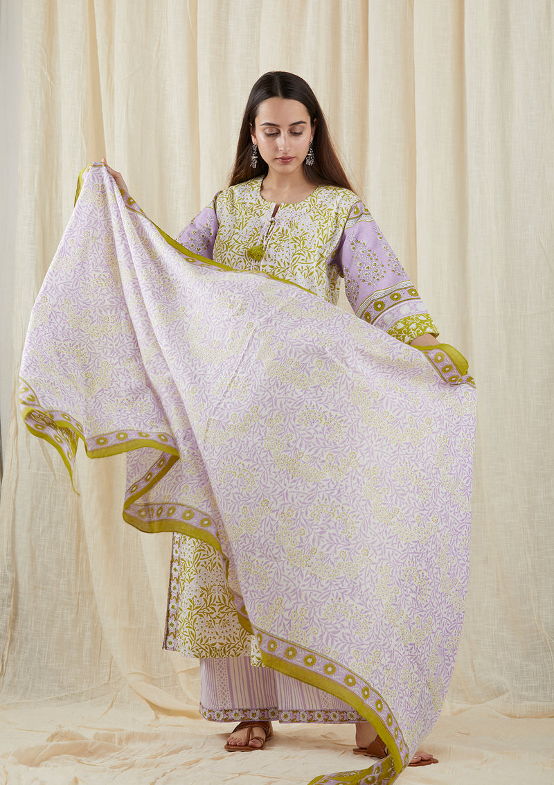 Green Lilac Carnation Dupatta